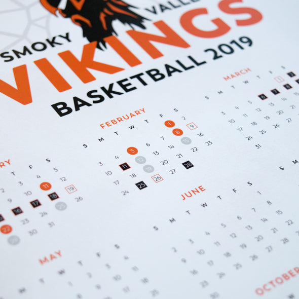 Viking Basketball 2019 Wall Calendar