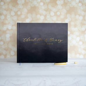 Formal Black Ombre Foil Wedding Guest Book