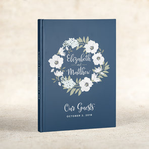 Modern Floral Personalized Wedding Guest Book, GB114P