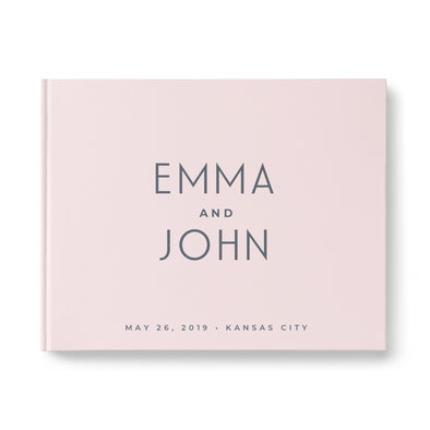 Modern pink custom wedding guest book