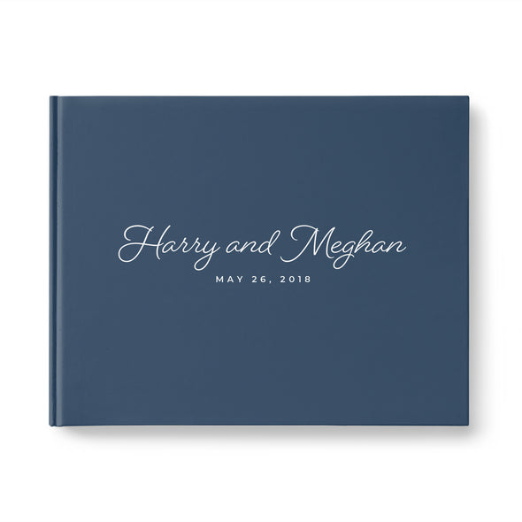 Navy blue wedding guest book personalized with names and event date