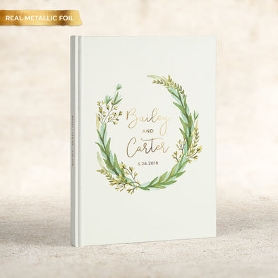Rustic Wreath Foil Wedding Guest Book, GB225PF