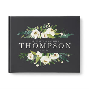 Elegant Custom Wedding guest book with white flowers