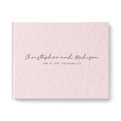 rustic blush personalized wedding guest book