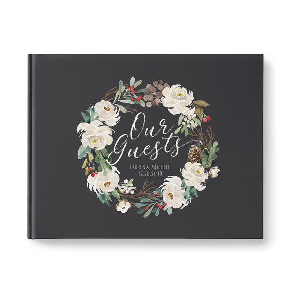 christmas wedding guest book with wreath