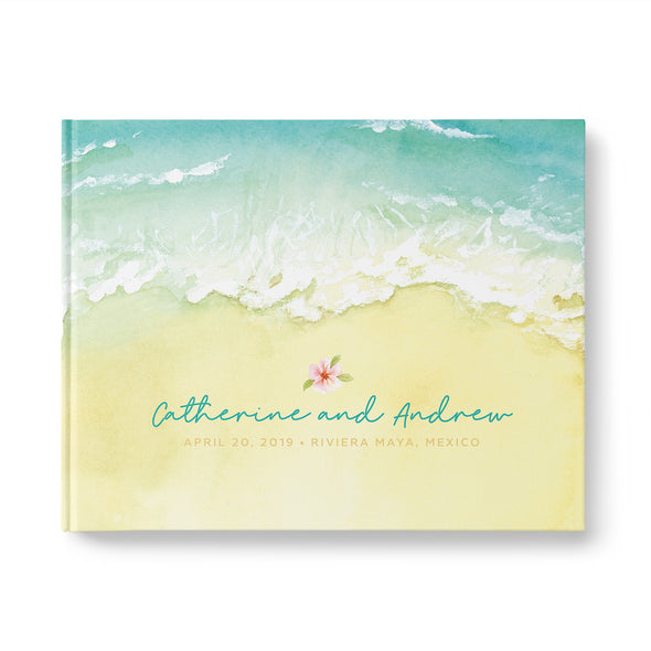 Sandy Beach Destination Wedding Guest Book, Personalized, Landscape, Hardcover GB243L