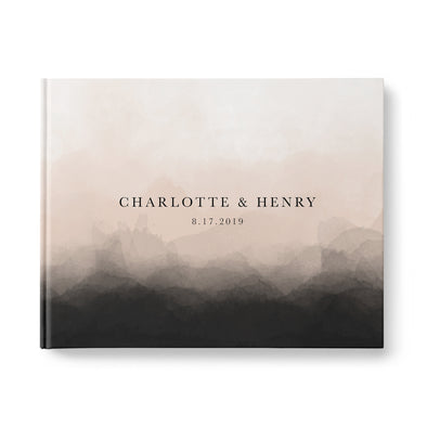 Modern Charcoal & Blush Ombre Wedding Guest Book, Personalized, Landscape, Hardcover GB247L