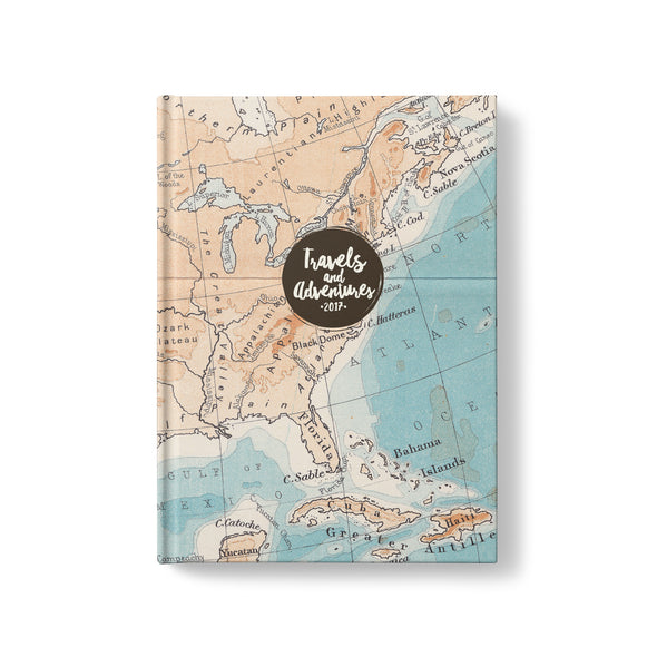 Vintage Map Hardcover Travel Journal