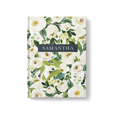 White floral personalized journal, hardcover casebound