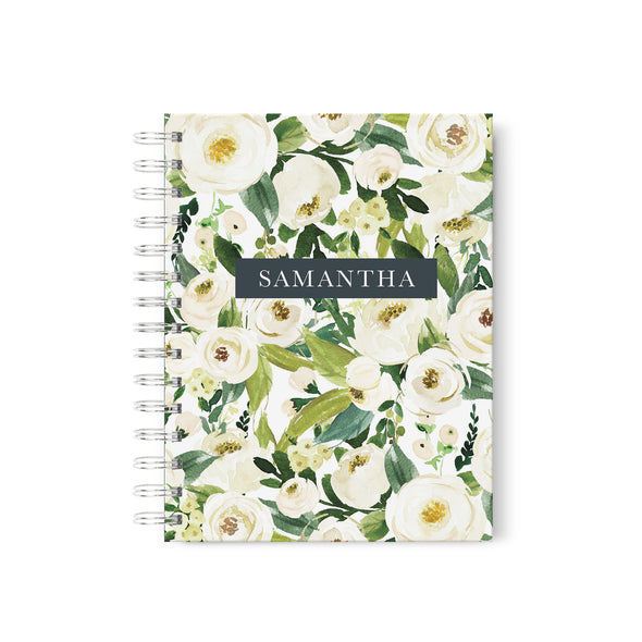 spiral bound personalized journal with white flowers and your name, bridal journal
