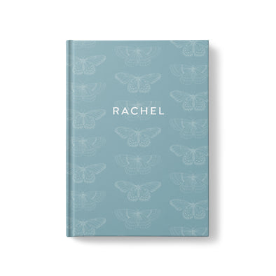 Hardcover Journal with butterflies, personalized with your name