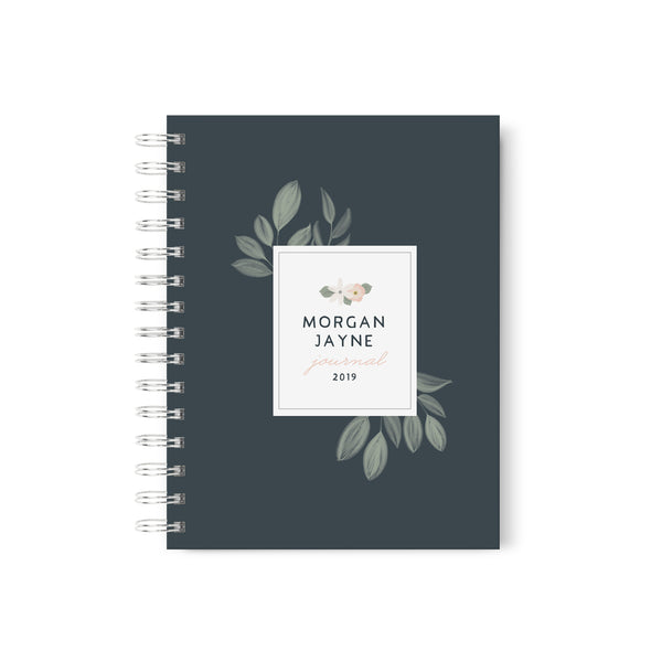 Personalized Journal with a hard cover and spiral bounding and simple pink flowers