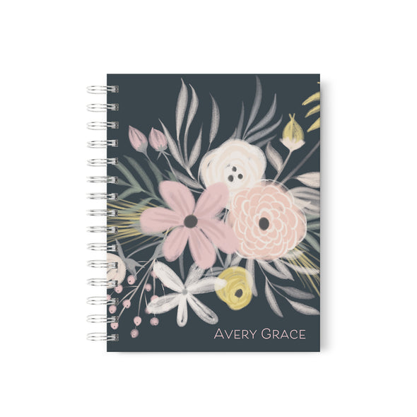 pretty pink flower personalized hardcover spiral journal