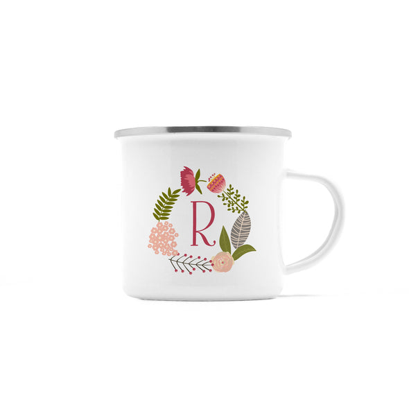 Personalized Camp Mug, Floral Wreath with Initial