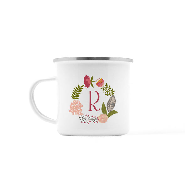 Floral Wreath Personalized Camp Mug, 10 oz