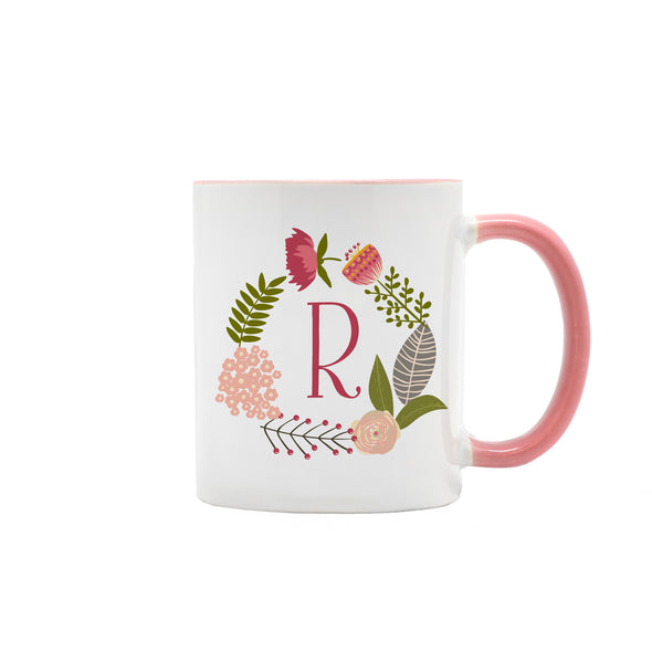Floral Wreath Monogram Coffee Mug, Ceramic, 11 oz