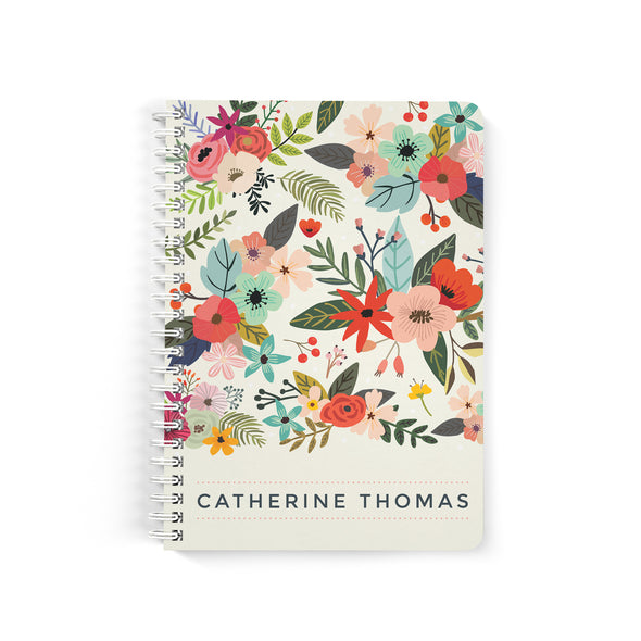 Rustic Floral Petite Personalized Notebook, Spiral Bound
