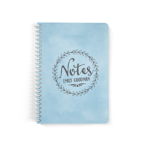 Rustic Wreath Petite Personalized Notebook, Wire-o Spiral