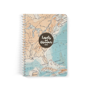 Personalized Travel Journal, Retro Map Design, Spiral Bound Notebook