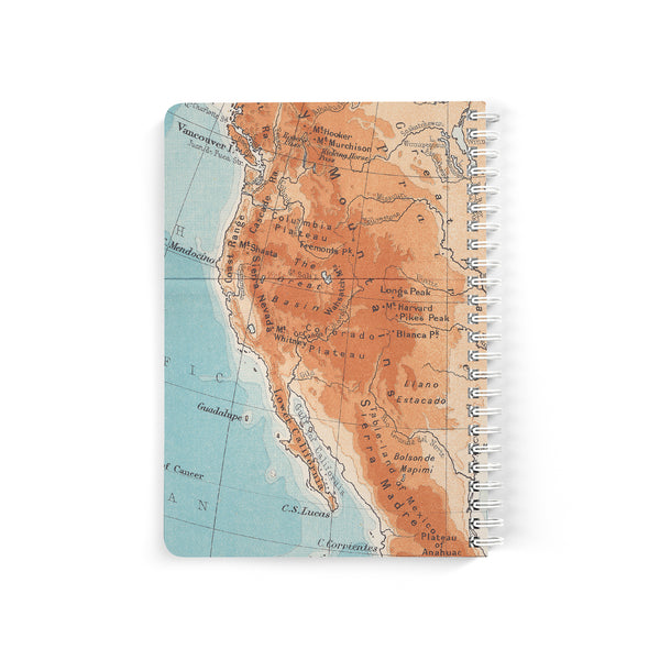 Retro Map Personalized Travel Journal, Spiral Bound