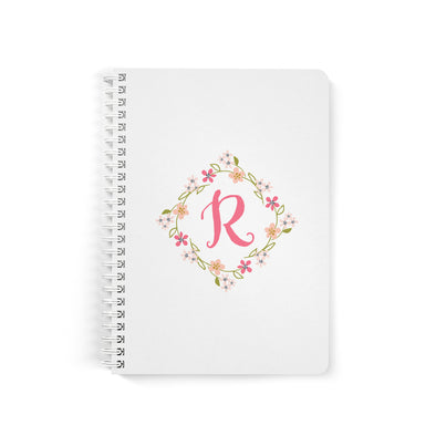 Floral Monogram Notebook, Spiral Bound, Lined Sheets