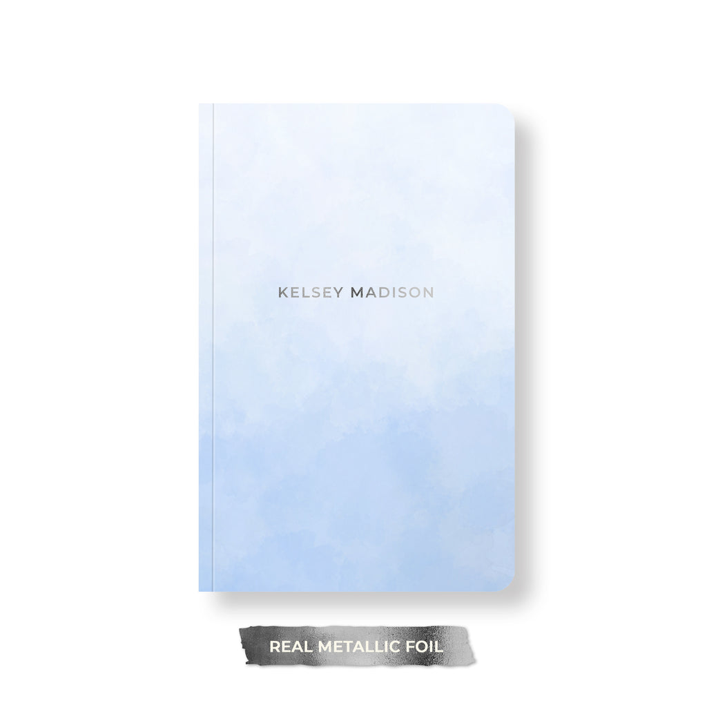 Simple Watercolor Foil Personalized Notebook, Spiral or Perfect Bound