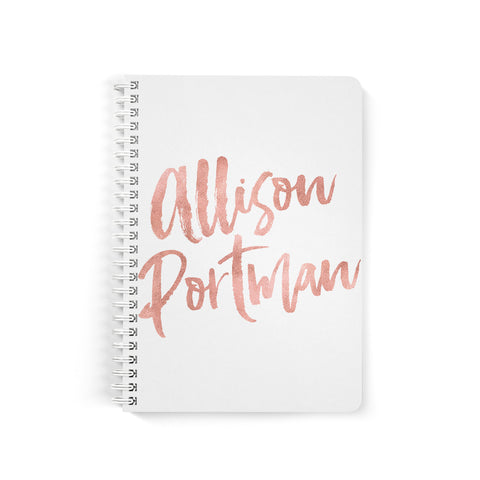 Custom Notebooks, Brush Script, Spiral Bound, Pink