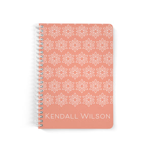 Personalized Notebook, Spiral Bound Notebooks, Coral, Custom