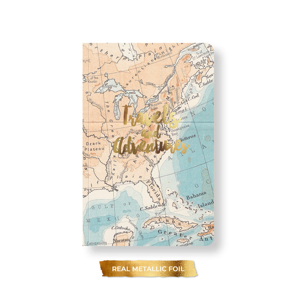 Vintage Map Notebook, Spiral or Perfect Bound