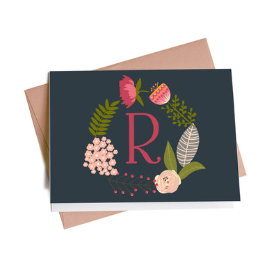 Modern Floral Wreath Monogram Personalized Note Cards, 10 Card Set
