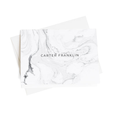 Elegant Marble Personalized Note Cards, 10 Card Set