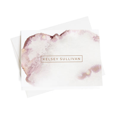 Pink Ink Wash Personalized Note Cards, 10 Card Set
