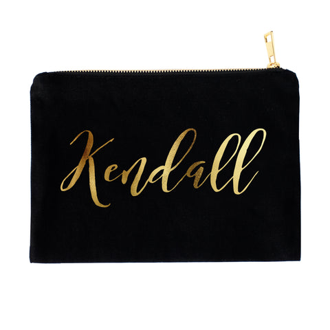 Personalized Cosmetic Bag with Real Metallic Gold or Silver Foil