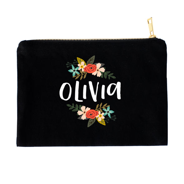 Modern Floral Personalized Cosmetic Bag