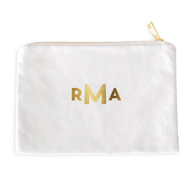 Modern Monogrammed Cosmetic Bag with Real Metallic Gold or Silver Foil
