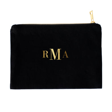 Classic Monogrammed Cosmetic Bag with Real Metallic Gold or Silver Foil