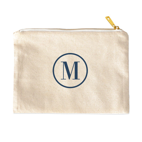 Classic Circle Monogram Personalized Cosmetic Bag