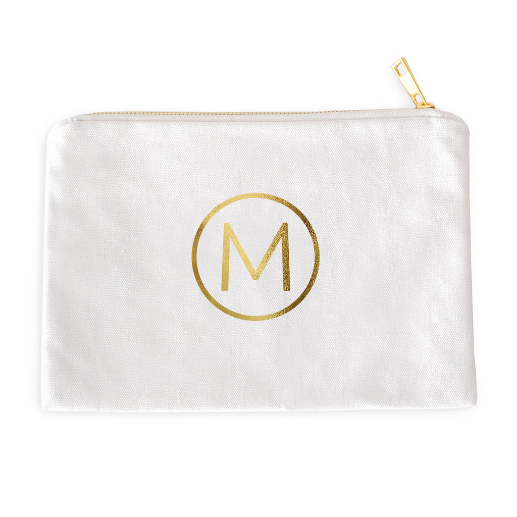 Modern Circle Monogram Cosmetic Bag with Real Metallic Gold or Silver Foil