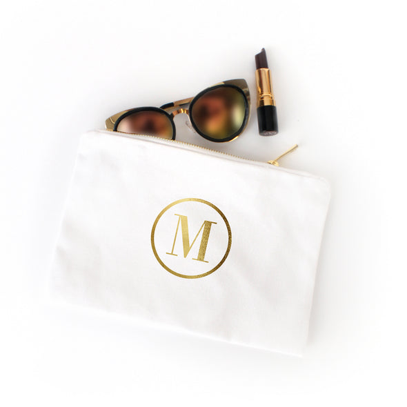 Classic Circle Monogram Cosmetic Bag with Real Metallic Gold or Silver Foil
