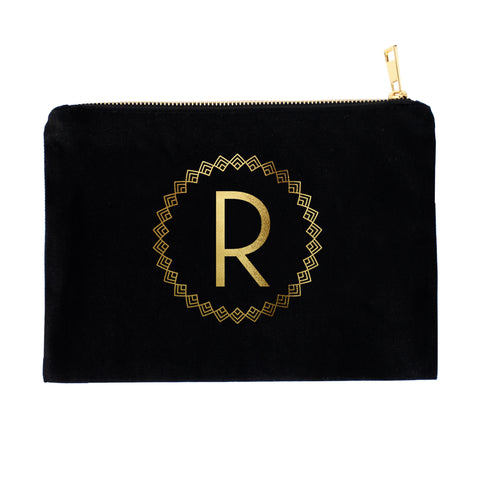 Art Deco-inspired Monogram Cosmetic Bag with Real Metallic Gold or Silver Foil