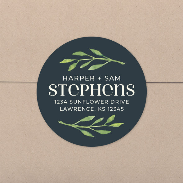 Simply Chic Greenery Personalized Address Stickers