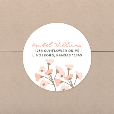Blush Floral Personalized Address Stickers