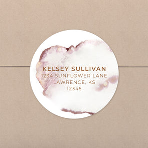 Pink Ink Wash Personalized Address Stickers