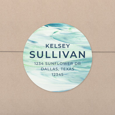 Blue and Green Waves Personalized Address Stickers