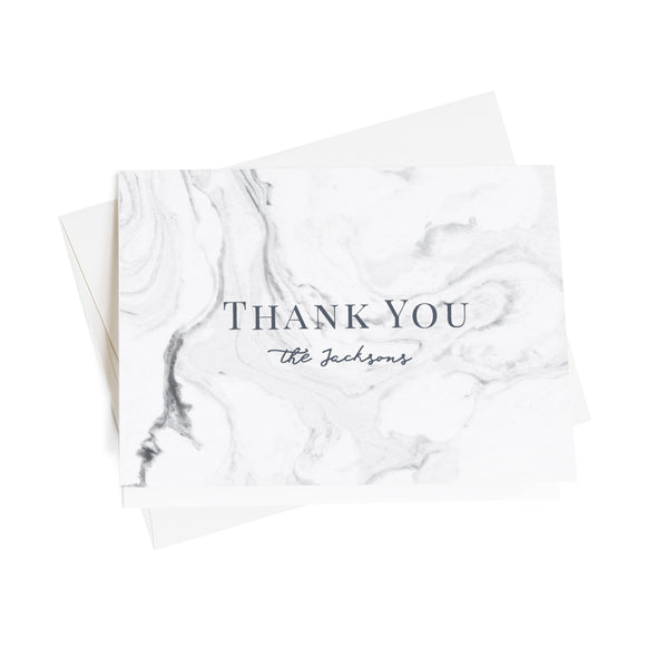 Elegant Marble Personalized Thank You Notes, 10 Card Set