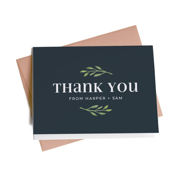 Simply Chic Greenery Personalized Thank You Notes, 10 Card Set
