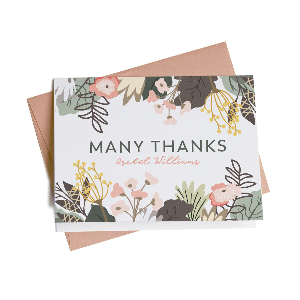 Modern Floral Personalized Thank You Cards, 10 Card Set