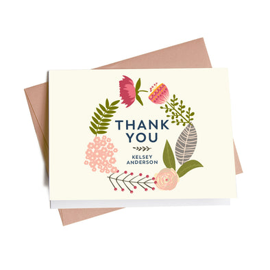 Modern Floral Wreath Personalized Thank You Notes, 10 Card Set