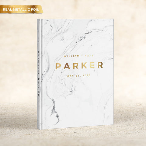 Modern Marble Foil Wedding Guest Book