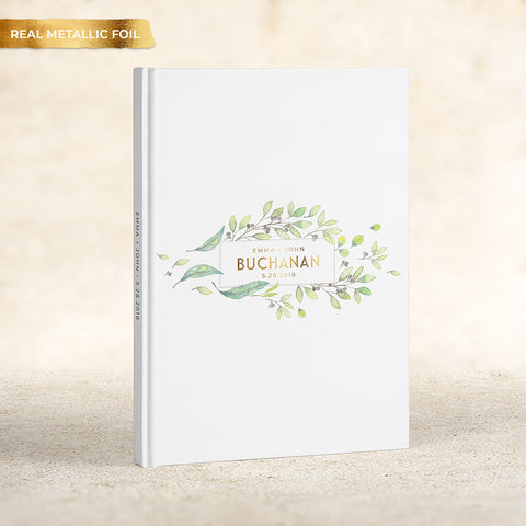 Spring Greenery Foil Wedding Guest Book